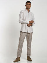 Cream Checked Linen Formal Shirt