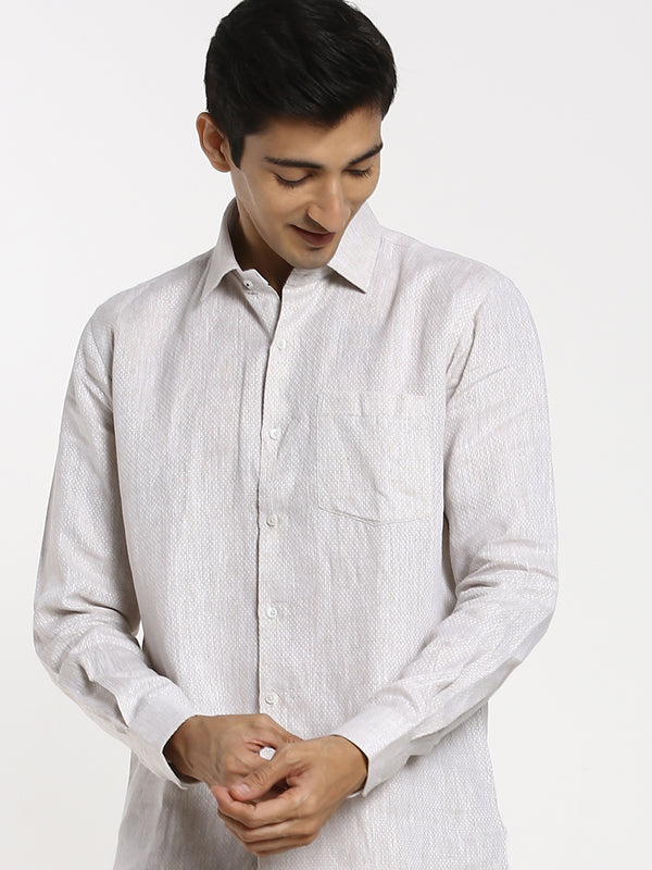 Grey Printed Linen Formal Shirt