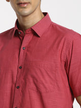 Red Plain Business Casual Shirt