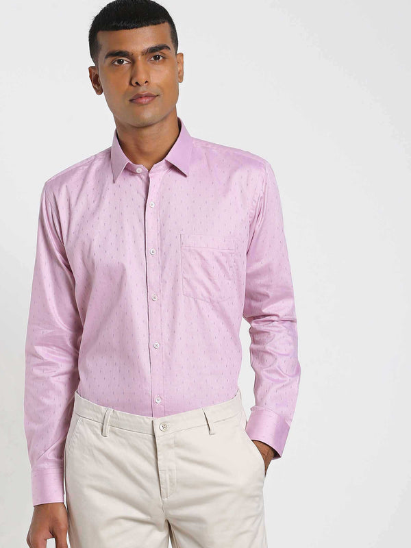 Pink Printed Formal Shirt