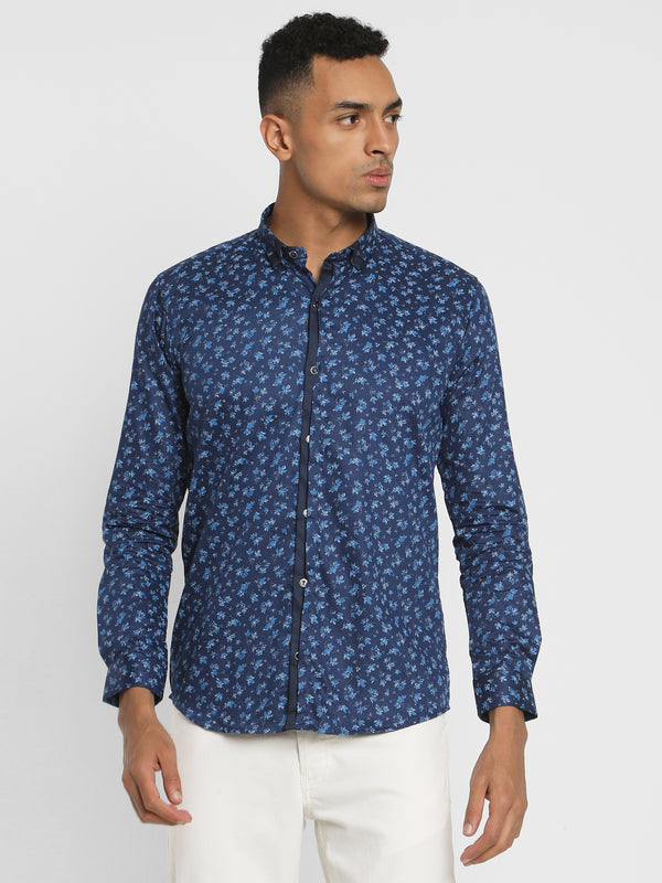 Navy Printed Party Wear Shirt