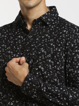 Black Printed Business Casual Shirt