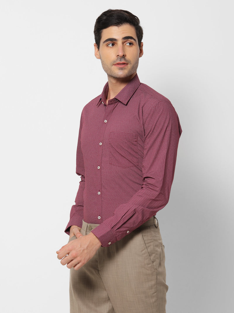 Red Printed Business Casual Shirt