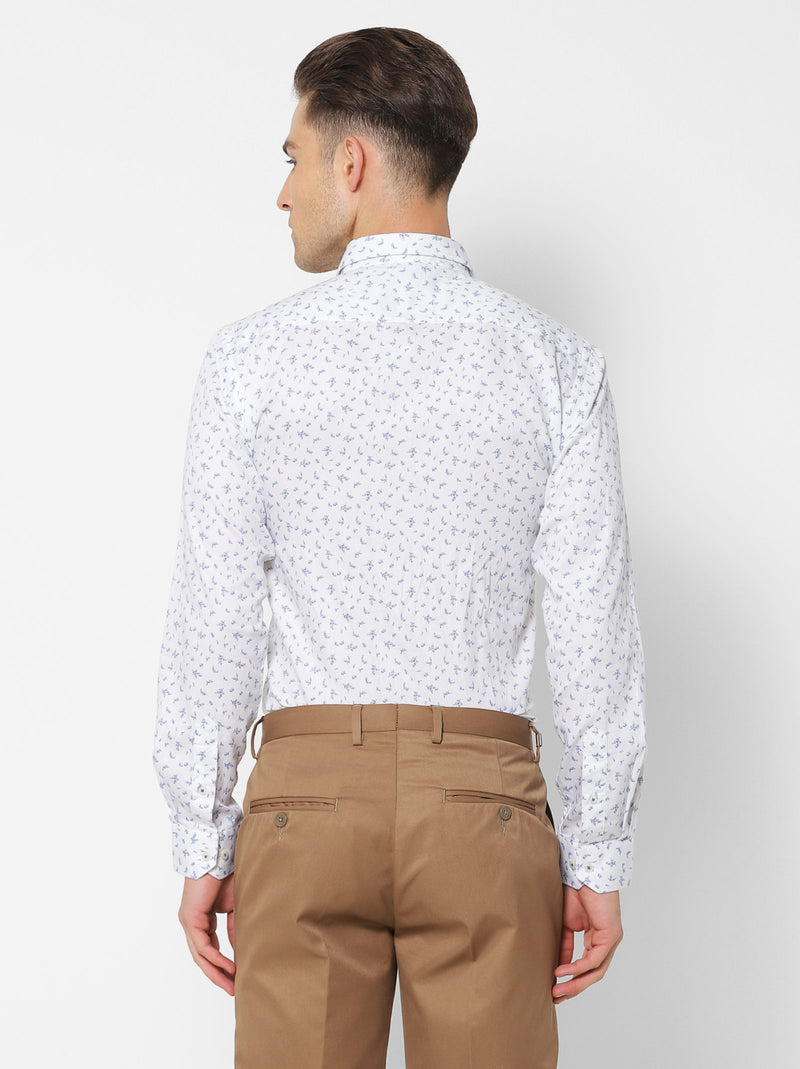 White Printed Business Casual Shirt