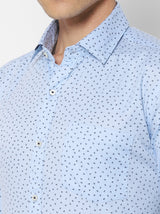 Blue Printed Business Casual Shirt