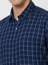 Navy Checked Business Casual Shirt