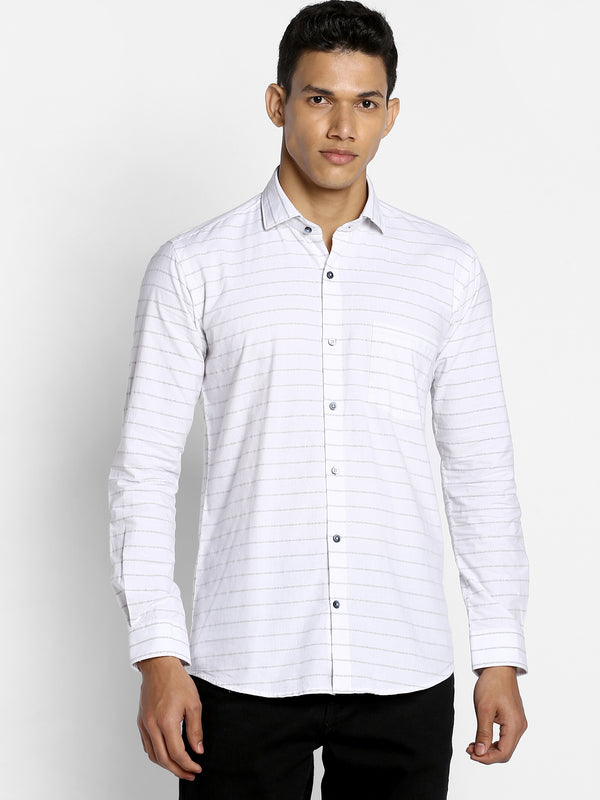 White Striped Business Casual Shirt