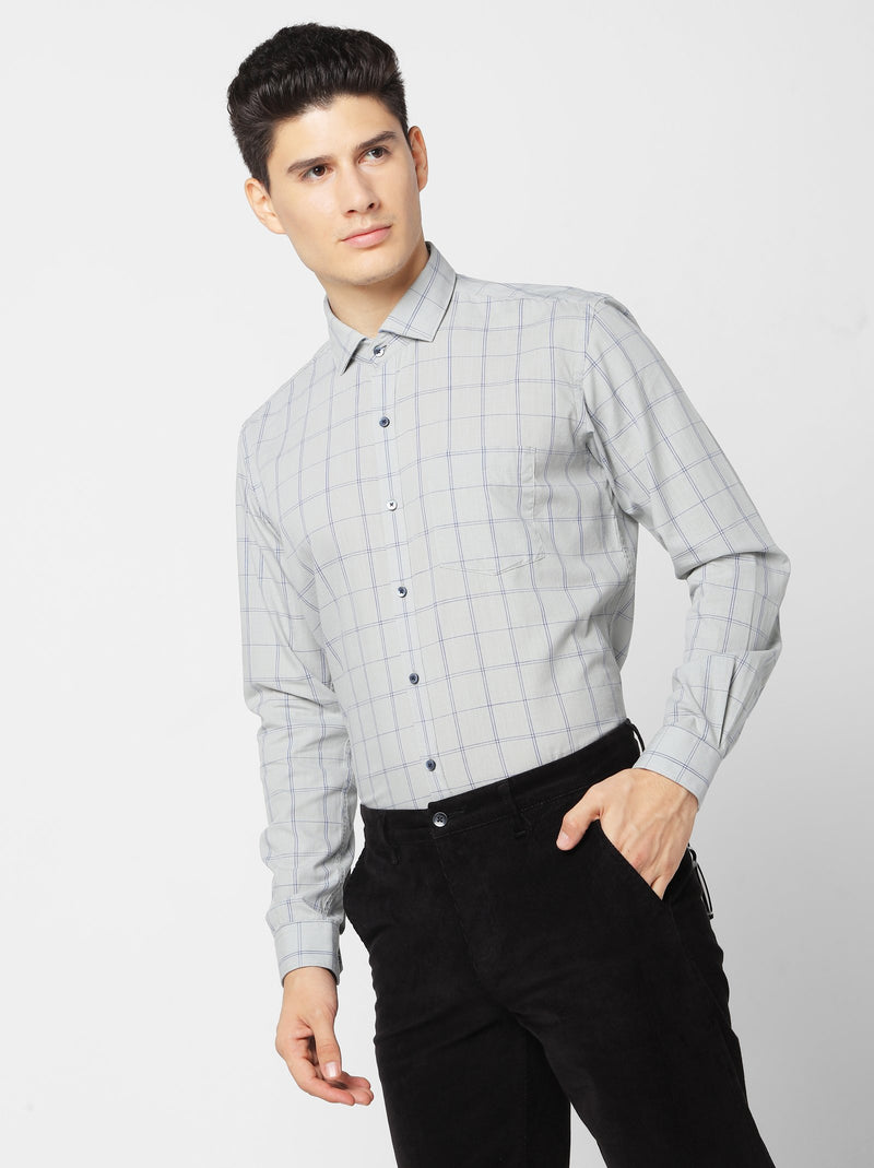 Grey Checked Business Casual Shirt