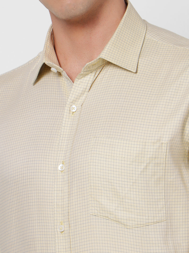 Yellow Checked Formal Shirt