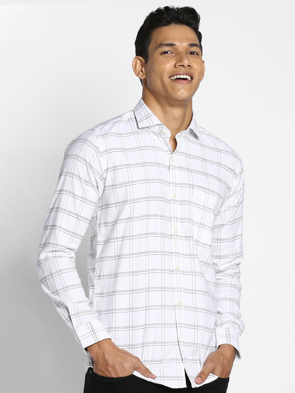 White Checked Stretch Business Casual Shirt