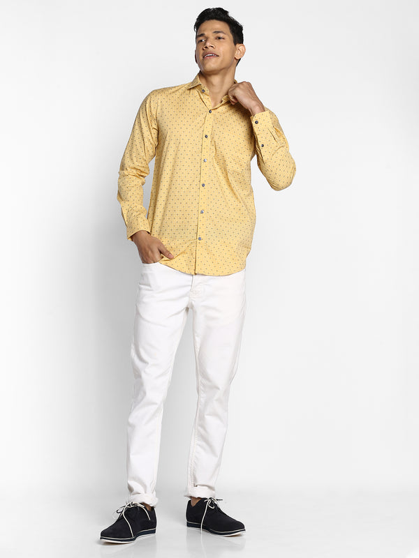 Yellow Printed Stretch Business Casual Shirt