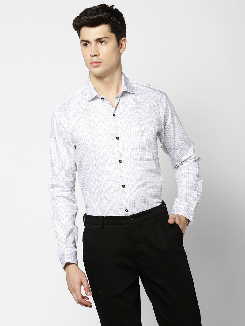 White Checked Formal Shirt