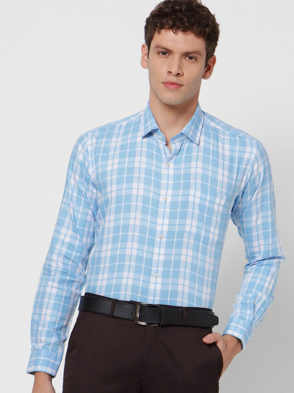Blue Checked Business Casual Shirt