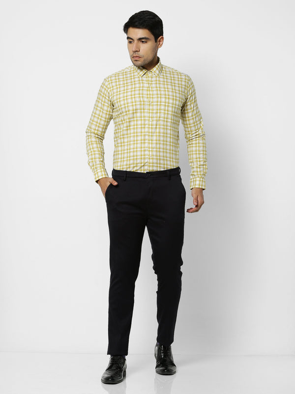 Yellow Checked Business Casual Shirt