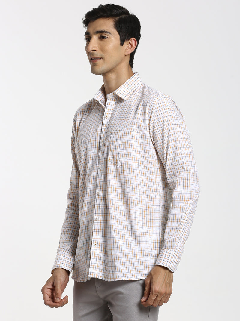 Orange Checked Formal Shirt