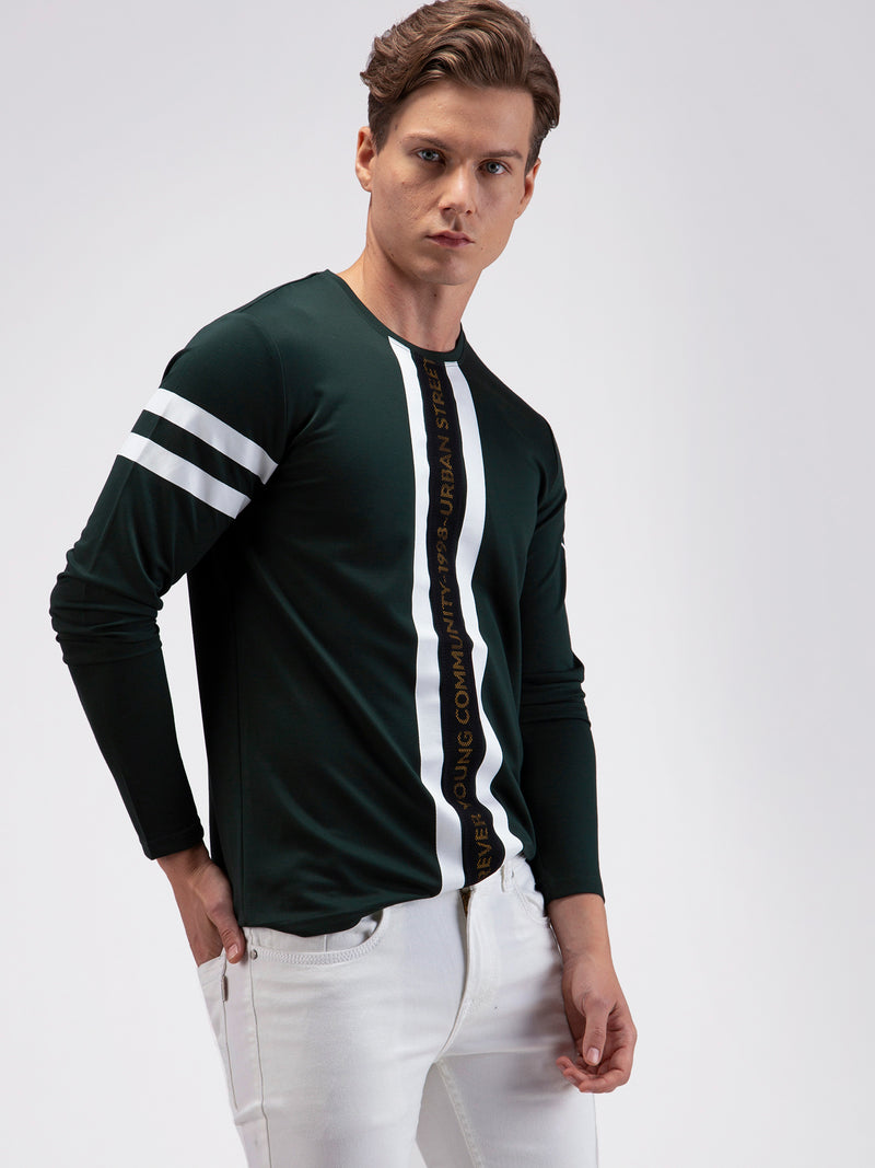 Green Stretch Chest Printed Street Wear T-Shirt