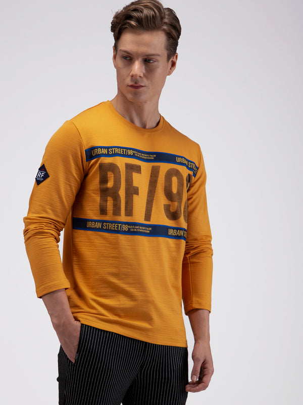 Yellow Stretch Chest Printed Street Wear T-Shirt