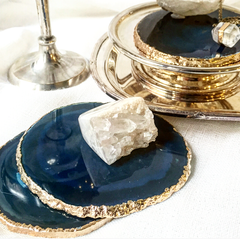 Gold Trim Blue Agate Fine Polished Coasters - Set 4 ***BACK IN STOCK SOON***