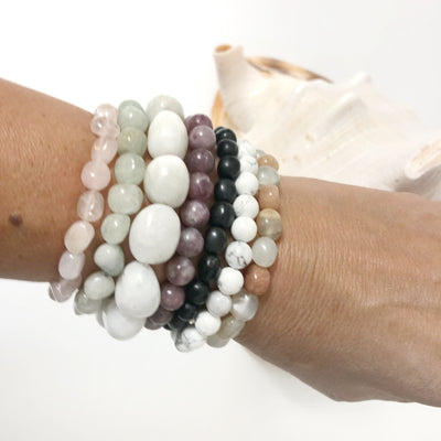 Crystal Precious Stone Wellness Bracelet - Indian Moonstone