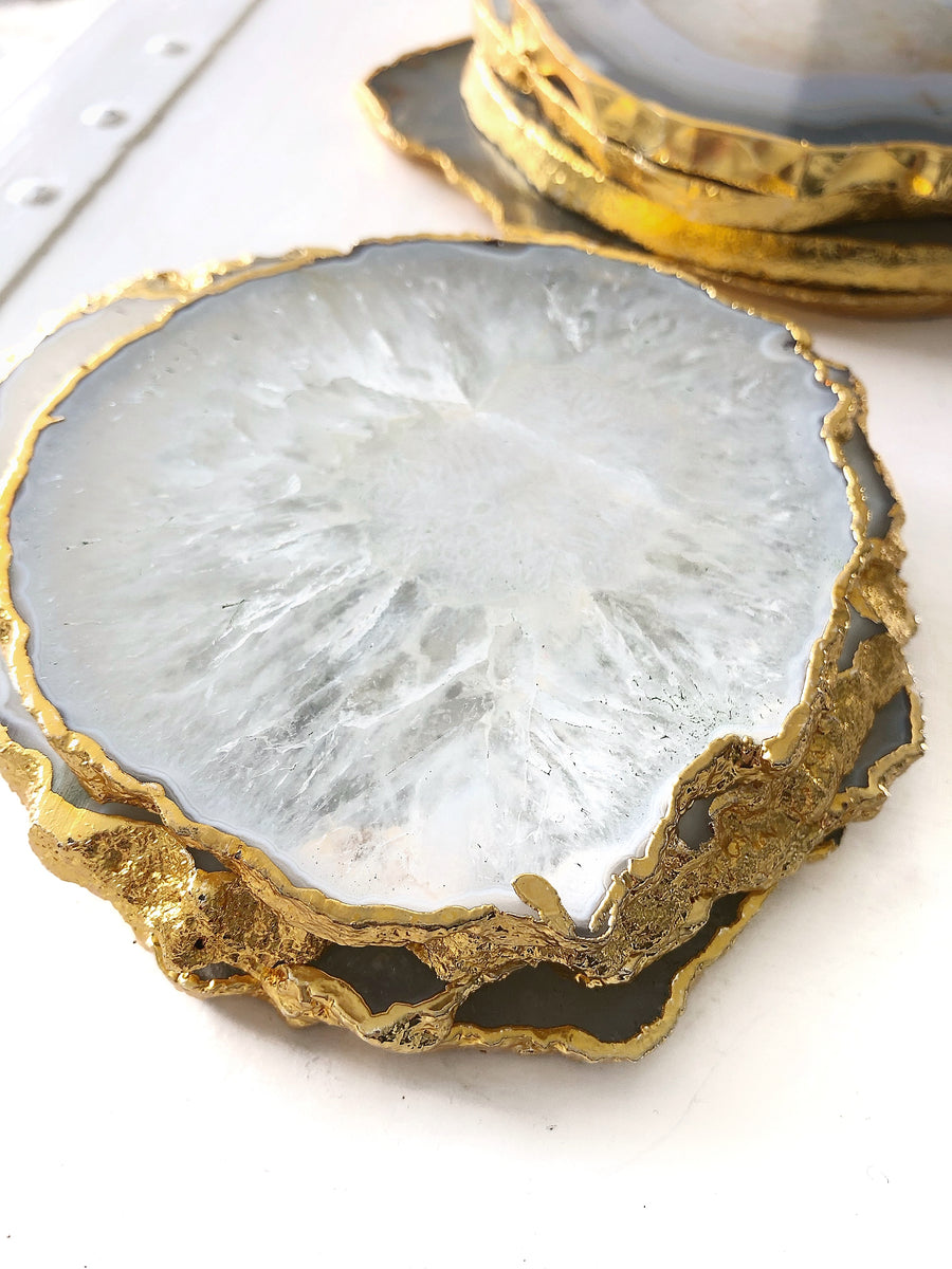 Gold Trim Fine Polished Agate Coasters - Set 2