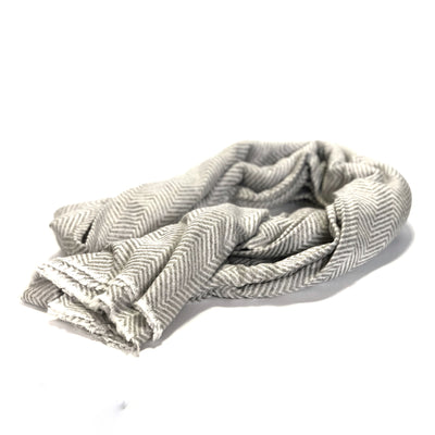 100% Cashmere Throw Wrap - Mid Grey Large Herringbone