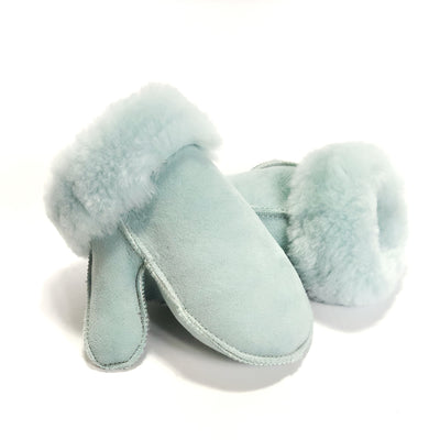 Kids Sheepskin Mittens Pale Blue