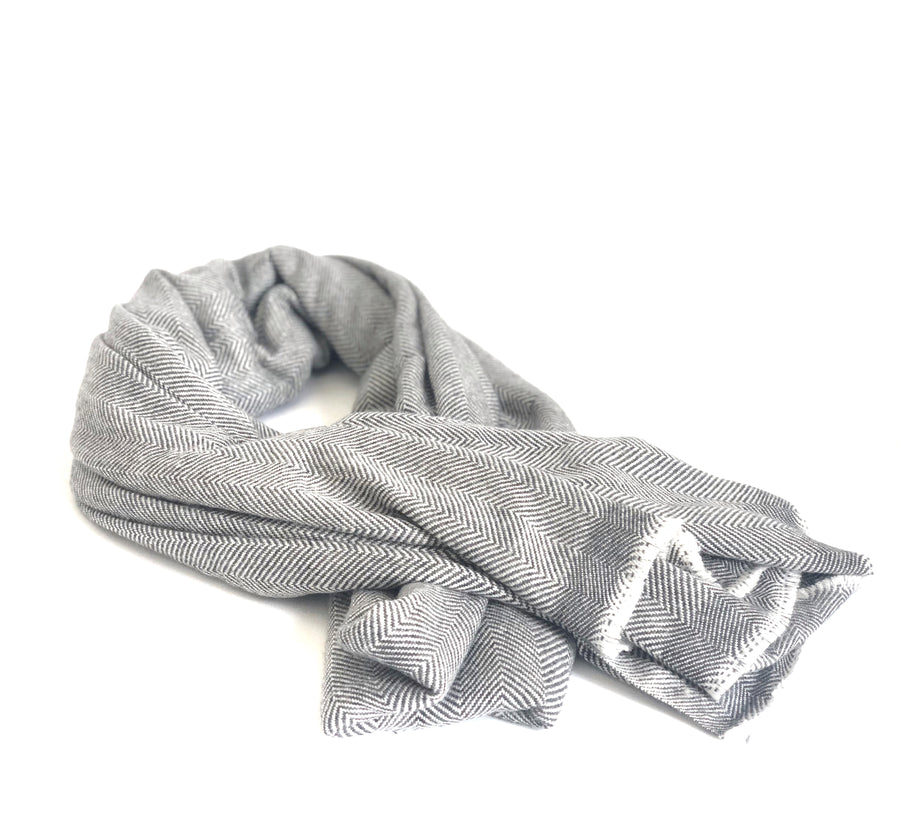 100% Cashmere Throw Wrap - Grey Fine Herringbone