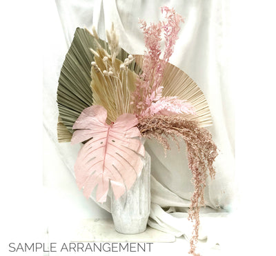 Real Dried Monstera Leaves - Pink Set 3