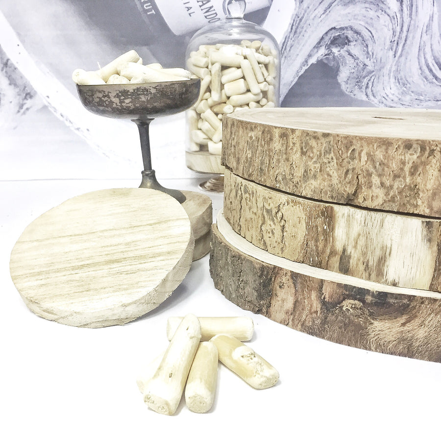 Natural Wood Slice Round Coaster Set 4
