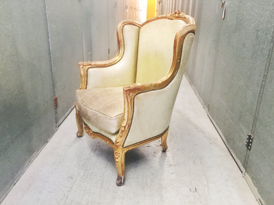 Vintage Gilded Wingback Chair in Green Leather with Brass Studding
