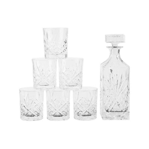 Cut Glass Whiskey Decanter Set With 6 Glasses