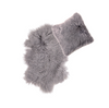Real Tibetan Fur Mongolian Lambskin Sheepskin & Cushion Gift Set - Light Grey