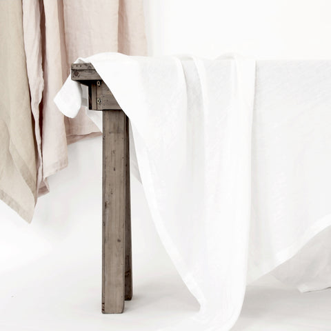 Washed Linen Tablecloth - White