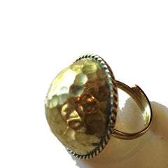 Hammered Brass Dome Ring -  - 2