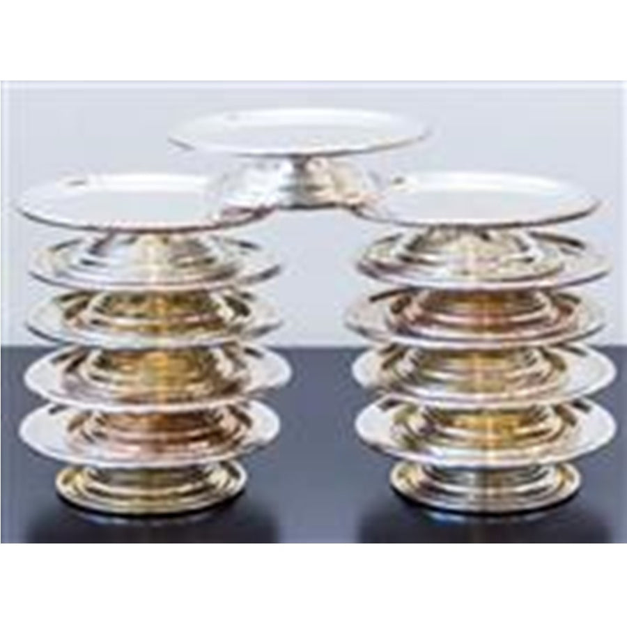 Petite Footed Silver Plate Serving Dishes or Candle Holders 12 CM D ***HIRE ONLY***