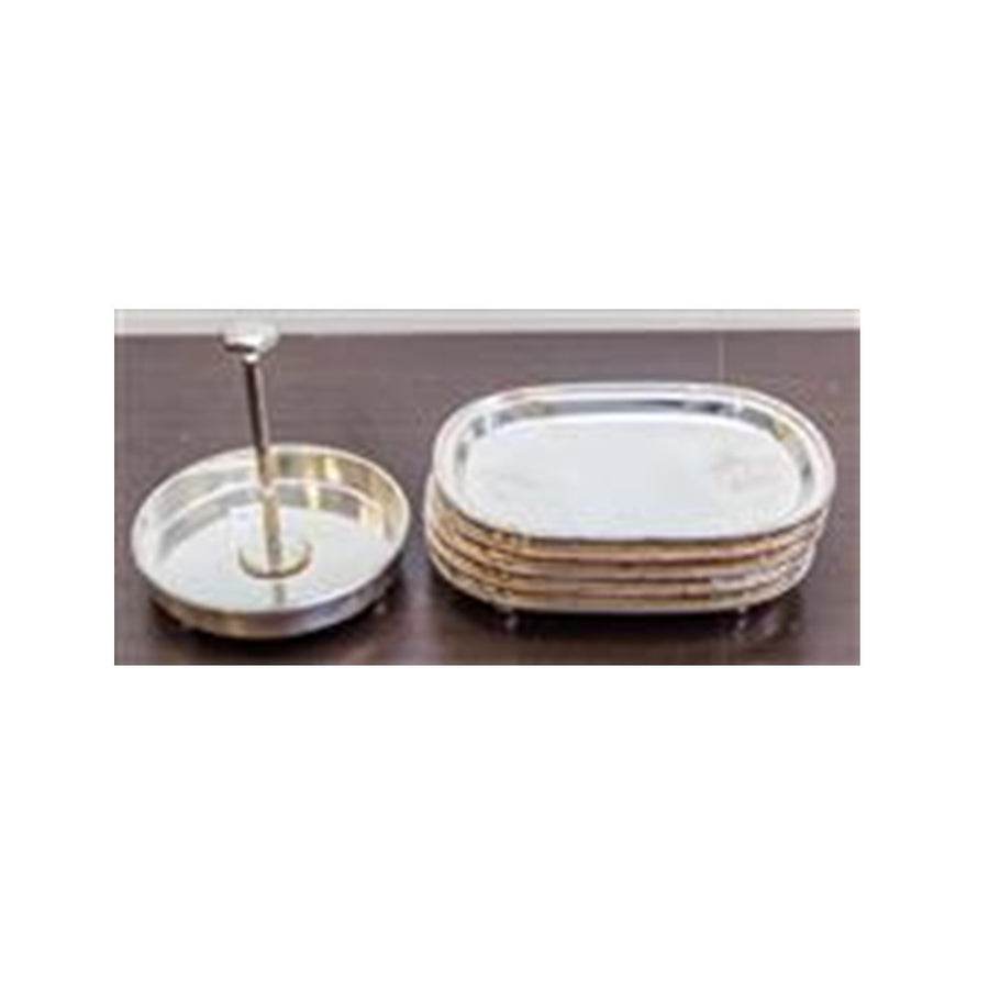Galleried Silver Plate Trays With Tied Motif 24 CM L ***HIRE ONLY***