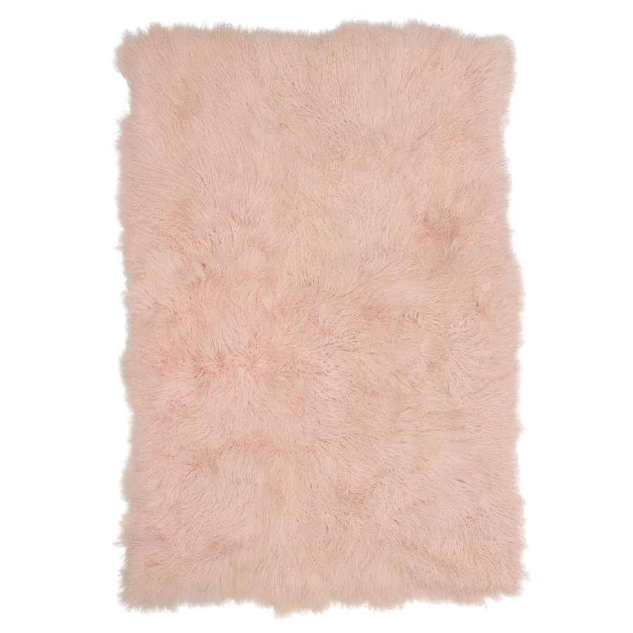 Real Tibetan Fur Mongolian Lambskin Sheepskin Throw Rug Blanket Blush Pink