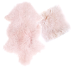 Real Tibetan Fur Mongolian Lambskin Sheepskin & Cushion Gift Set - Pink Blush