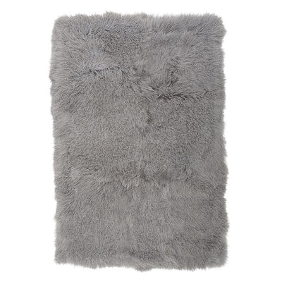Real Tibetan Fur Mongolian Lambskin Sheepskin Throw Rug Blanket Grey