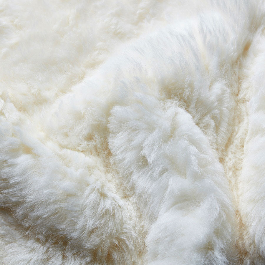 Icelandic Shorn Sheepskin Large Throw - Natural White