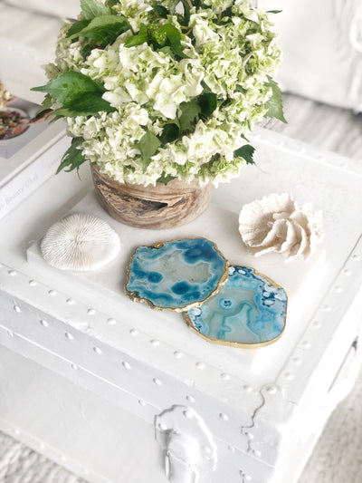 Gold Trim Fine Polished Blue Agate Coasters - Set 2