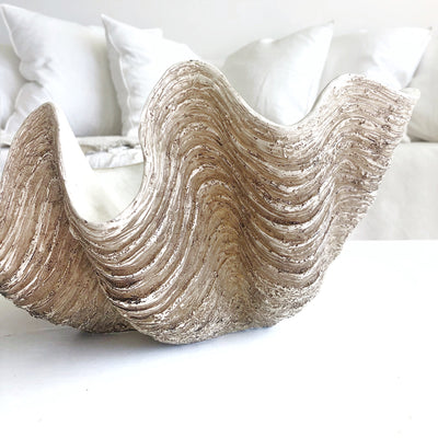 Deep Bowl Resin Faux Giant Clamshell Clam 'Natural' 38 CM