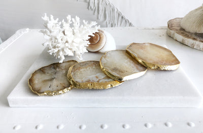 Gold Trim Fine Polished Natural Agate Coasters - Set 2