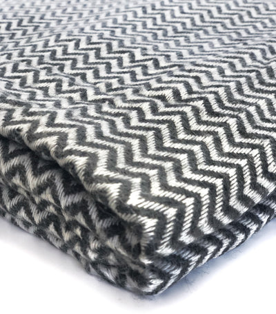 100% Cashmere Throw Wrap - Dark Grey Herringbone