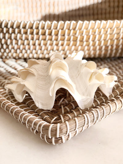 Woven Tray White/Natural 55 CM