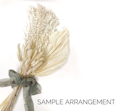 Real Dried Palm Single Stem - Creamy White