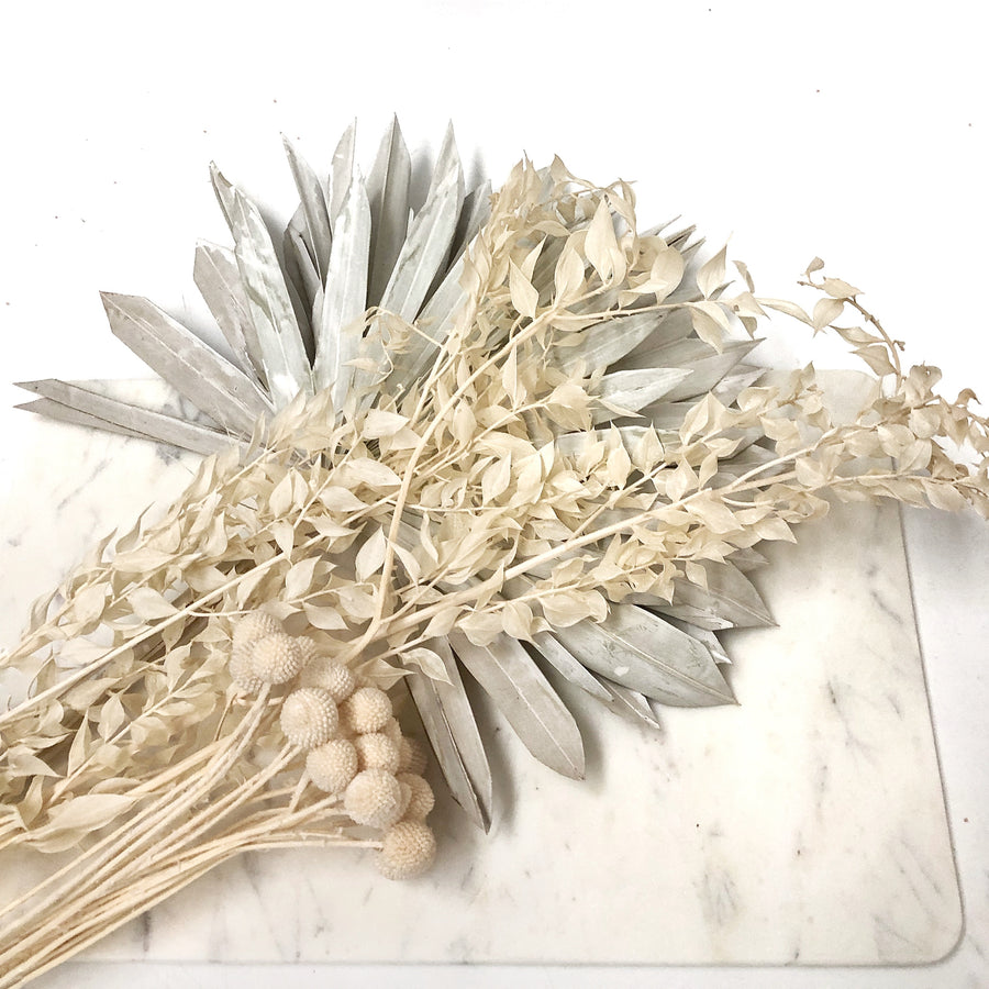 Preserved Ruscus Dried Flowers - Creamy White Bunch