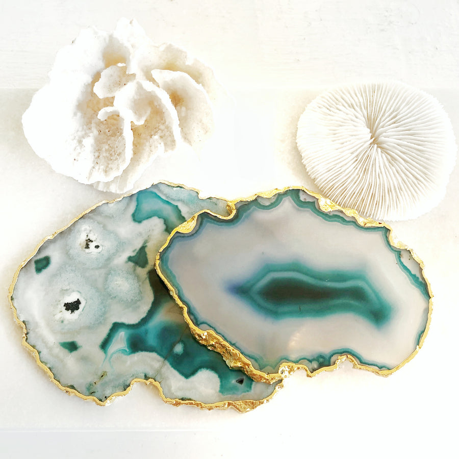 Gold Trim Fine Polished Teal Agate Coasters - Set 2
