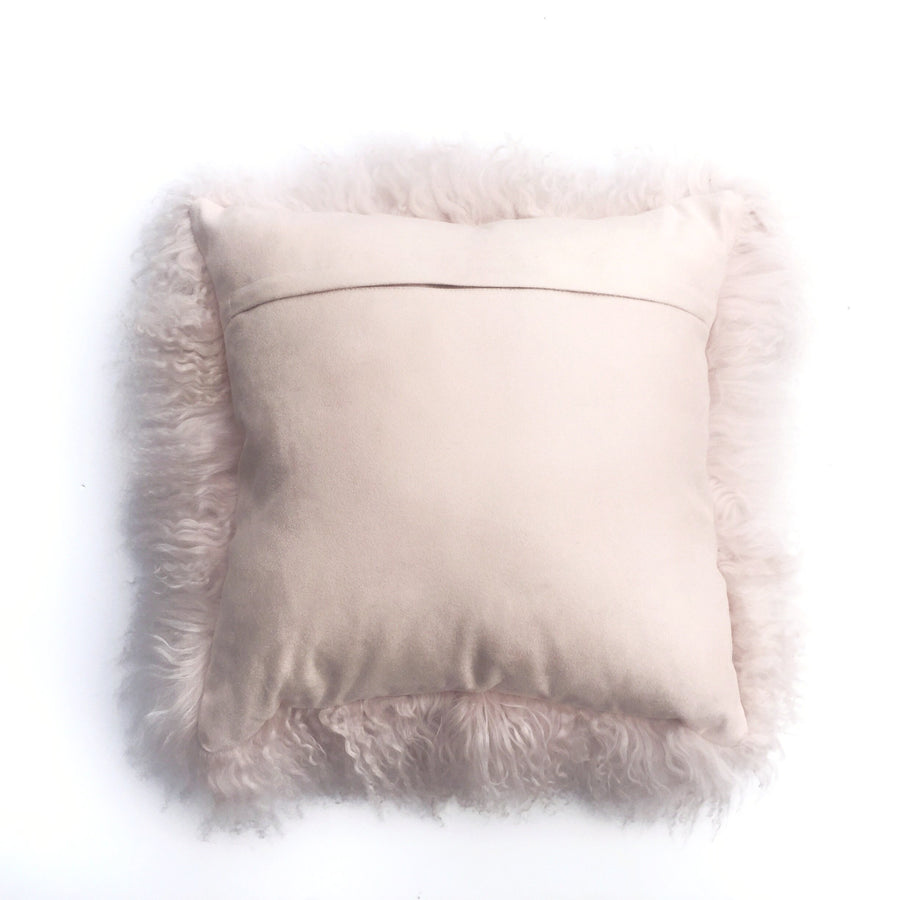 Real Tibetan Fur Mongolian Lambskin Sheepskin Cushion - Light Pink