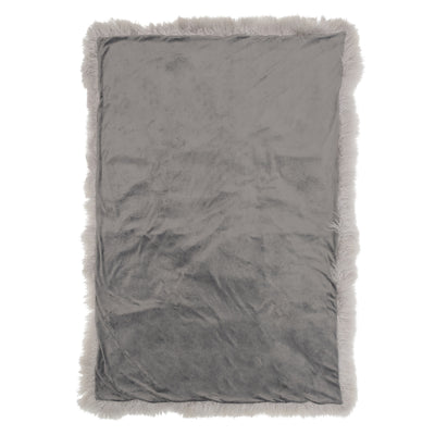 Real Tibetan Fur Mongolian Lambskin Sheepskin Throw Rug Blanket Light Grey